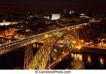 Bridge of Luis I at night over Douro river and Porto, ...