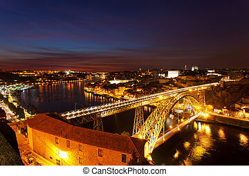 Bridge of Luis I at night over Douro river , Porto, Portugal