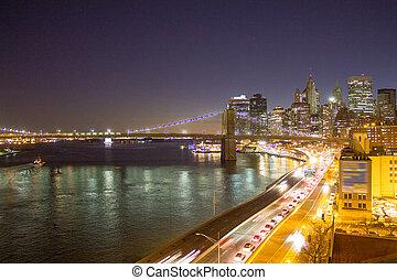 Bridge of New York City at Sunset, Manhattan