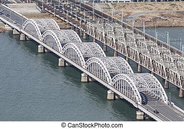 Bridge of Osaka, Japan on top view.