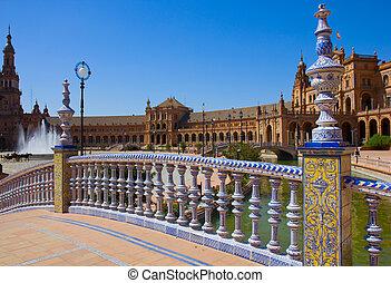 bridge of Plaza de España, Seville, Spain