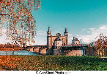 Bridge of Queen Louise in Sovetsk, Kaliningrad region. Autumn view.