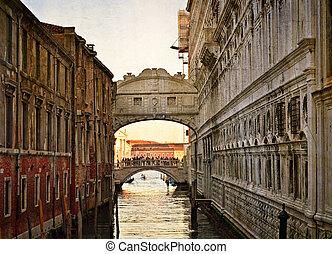Bridge of Sighs - Ponte dei Sospiri. Venice, Italy, Europe.Photo in old color image style.