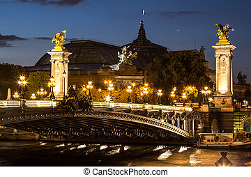 Bridge of the Alexandre III in a beautiful summer day in Paris, France