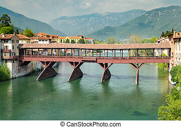 Bridge of the Alpini in Bassano del Grappa, Vicenza, Italy.