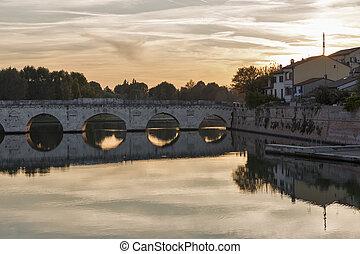 Bridge of Tiberius in Rimini, Italy.