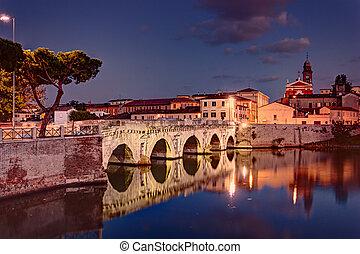 Bridge of Tiberius in Rimini, Italy - the ancient roman...