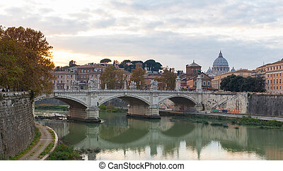 Bridge of Vittorio Emmanuel II and St.Peter's Basilica - ...