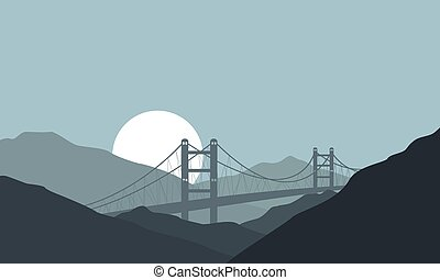 Bridge on hill background nature landscape