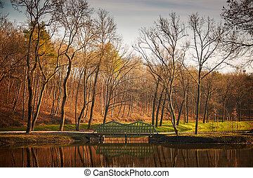 Bridge on lake autumn park