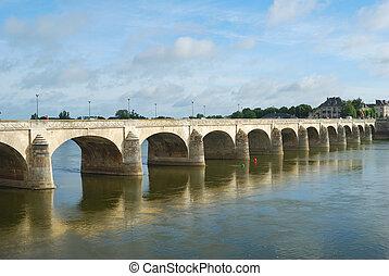 bridge on Loire river at saumur - arched bridge over the...