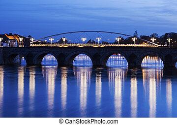 Bridge on Meuse River in Maastricht. Maastricht, Limburg,...