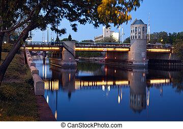 Bridge on Milwaukee River at sunset
