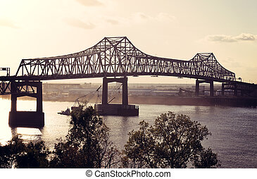 Bridge on Mississippi River in Baton Rouge, Louisiana.