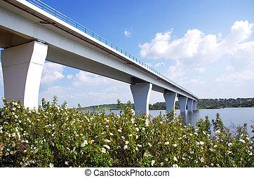 Bridge on the Alqueva lake, Alentejo,Portugal.