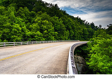 Bridge on the Blue Ridge Parkway in North Carolina. - Bridge...