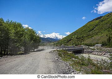 Bridge on the Enguri River in Mestia, beautiful mountains of svaneti, Georgia.
