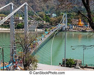 Bridge on the Holy Ganges river that flows through Rishikesh...