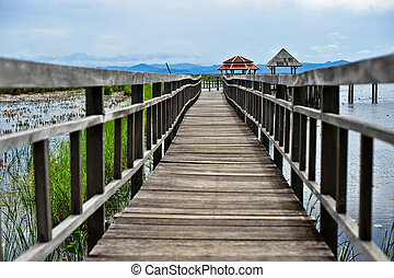 Bridge on the lake, natural background