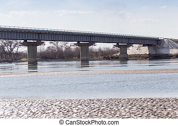 Bridge on the River Syr Darya. Kazakhstan