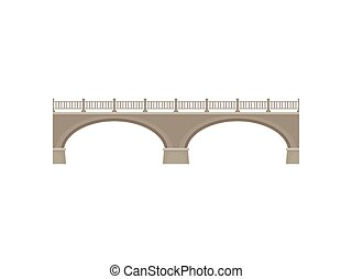 Bridge on white background. Vector flat illustration.