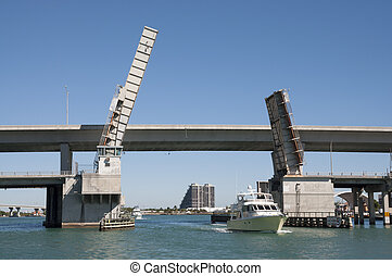 Bridge opened for yachts in Miami, Florida, USA