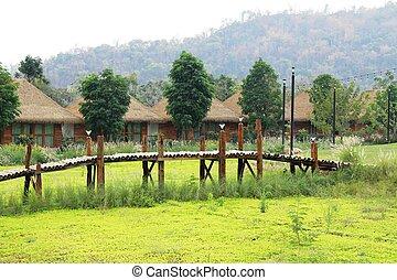 Bridge over a cannal in countryside , Thailand