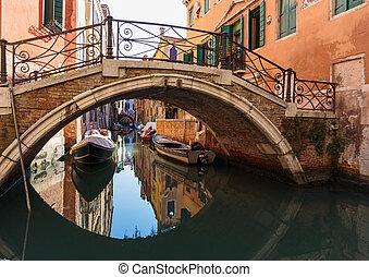 Bridge over a narrow canal in Venice