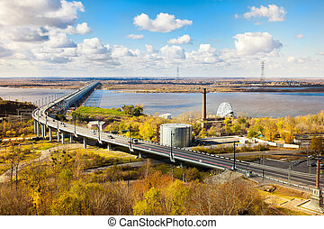 Bridge over Amur river in Khabarovsk in autumn