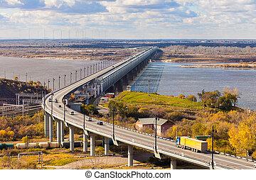 Bridge over Amur river in Khabarovsk in autumn
