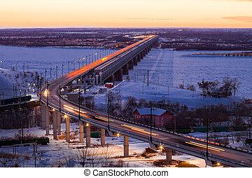 Bridge over Amur river in Khabarovsk in winter