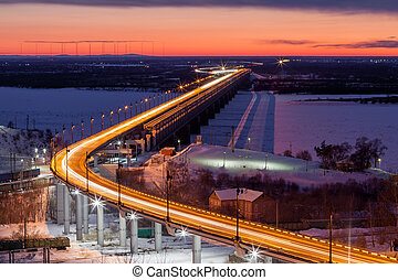 Bridge over Amur river in Khabarovsk, Russia in evening