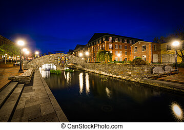 Bridge over Carroll Creek at night, at Carroll Creek Linear Park, in Frederick, Maryland