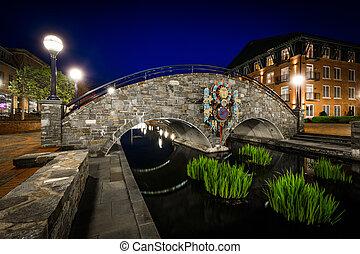 Bridge over Carroll Creek at night, at Carroll Creek Linear...