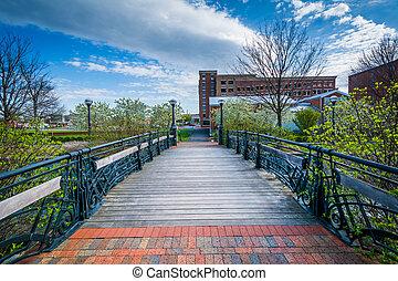Bridge over Carroll Creek, in Frederick, Maryland.