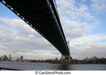 Bridge Over East River - Under view shot of the Tri-Borough ...