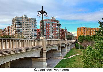 Bridge over Gardens of Turia in Valencia.