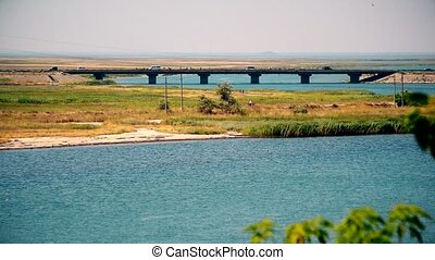 Bridge over Henichesk or Tonkyi Strait - Bridge over...