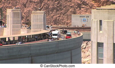 Bridge over Hoover Dam with vehicles