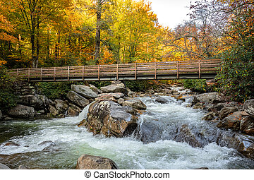 Bridge Over Little Pigeon River In Fall