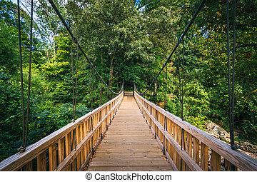 Bridge over Little Sugar Creek, at Freedom Park, in Charlotte, North Carolina