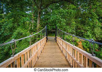 Bridge over Little Sugar Creek, at Freedom Park, in Charlotte, North Carolina.