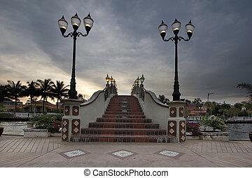Bridge Over Melaka River at Sunset