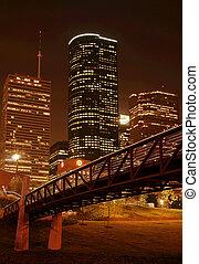 Bridge Over Night Skyline - bridge cross over under night...