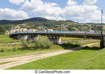 Bridge over Poprad River in Muszyna Zdroj in Poland
