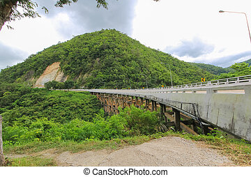 Bridge over river in the mountains, Phetchaboon, Thailand