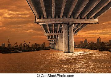 bridge over river with dusky sky scene