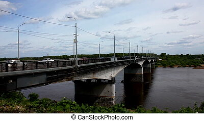 Bridge over river with transport
