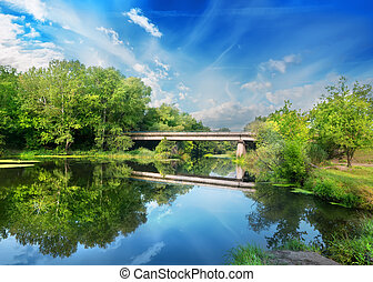 Bridge over silent river