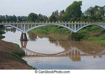 Bridge over Stung Sangke River in Battambang, Cambodia